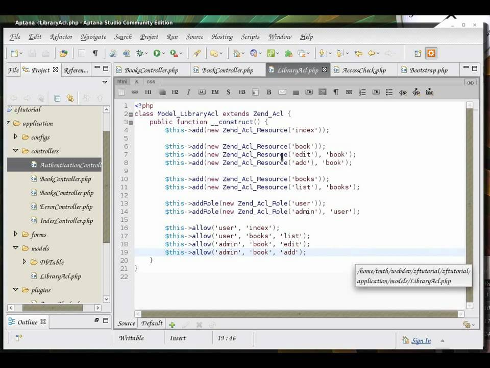 Zend Framework 1 8 tutorial 5 zend_acl with zend_auth and controller plugin  part 4