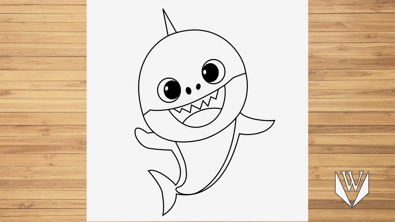 Как нарисовать маленькая акула, шаг за шагом, Easy Draw ...