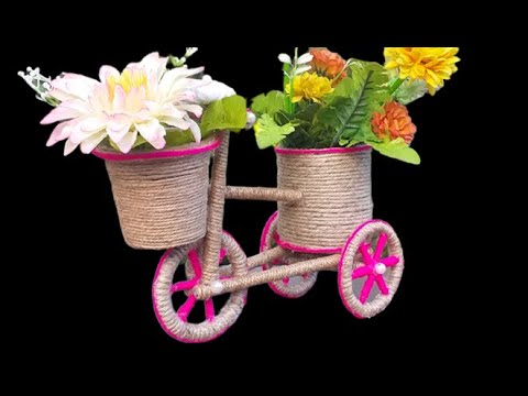 DIY Jute Bicycle Flower Vase || Decorative Bicycle Showpiece || Best Out Of Waste Jute Rope Craft
