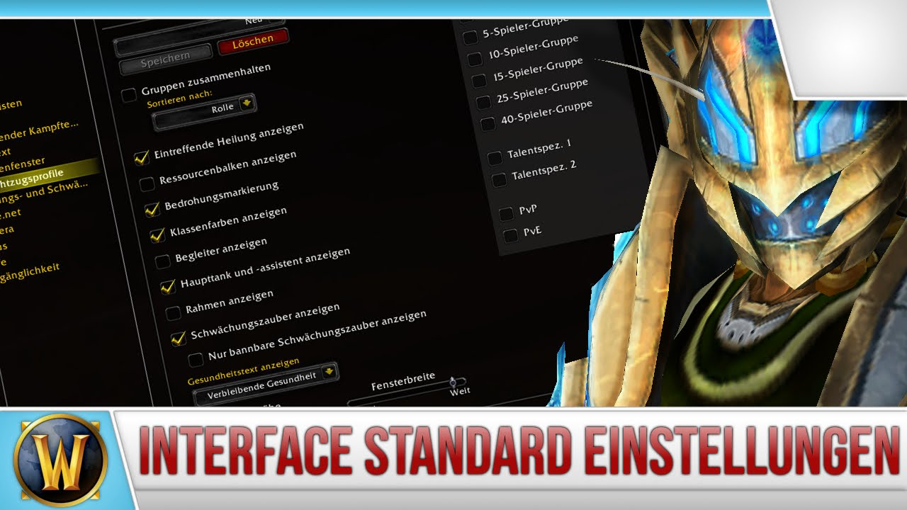 Tutorial] Interface Standard Einstellungen - [WoW] - YouTube