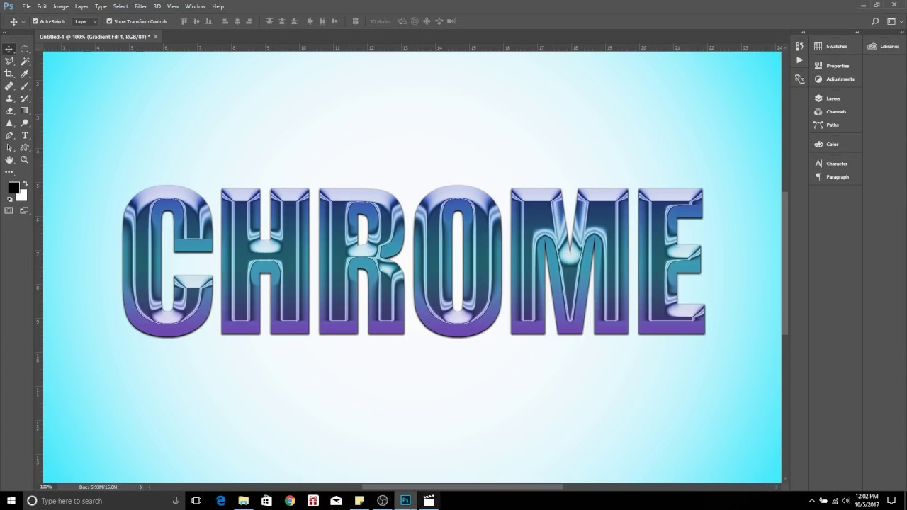Photoshop CC Chrome and Gradient Text Effects