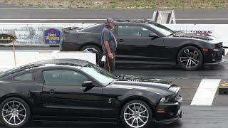 Shelby Super Snake vs ZL1 Chevy Camaro-1/4 mile drag race