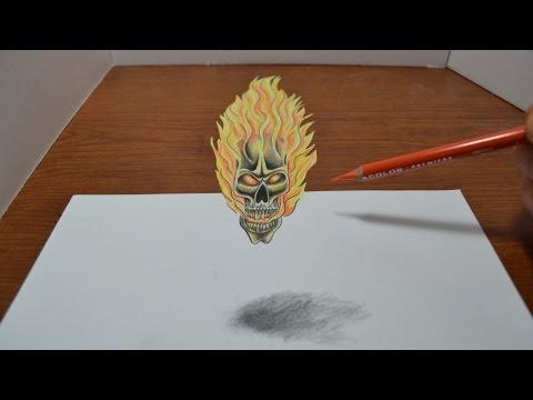 Drawing a Flaming Skull Tattoo Design - 3D Trick Art