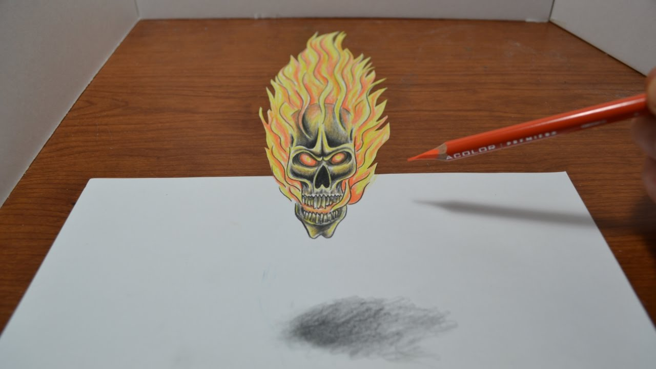 Drawing a Flaming Skull Tattoo Design - 3D Trick Art - YouTube