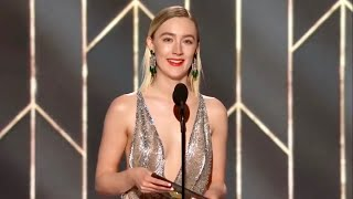 Saoirse Ronan Presenting at Golden Globes for Christian Bale [Best Actor in a Comedy]