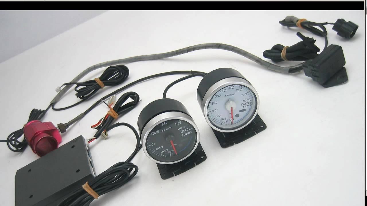 Defi gauges boost and temperature + control unit - YouTube