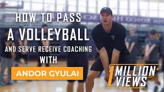 How To Pass a Volleyball and Serve Receive Coaching With Andor Gyulai - Volleyball1on1.com Owner