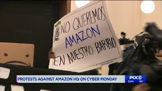 Protests against Amazon HQ in Queens held on Cyber Monday