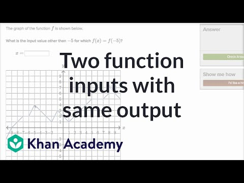 How To Find Two Function Inputs With The Same Output Given Graph (example) | Khan Academy