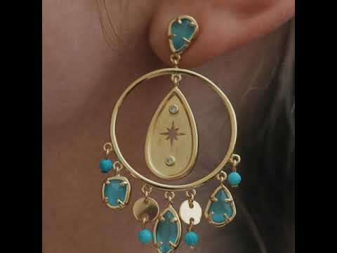 Cat eye stone hoop earrings BPE312 video