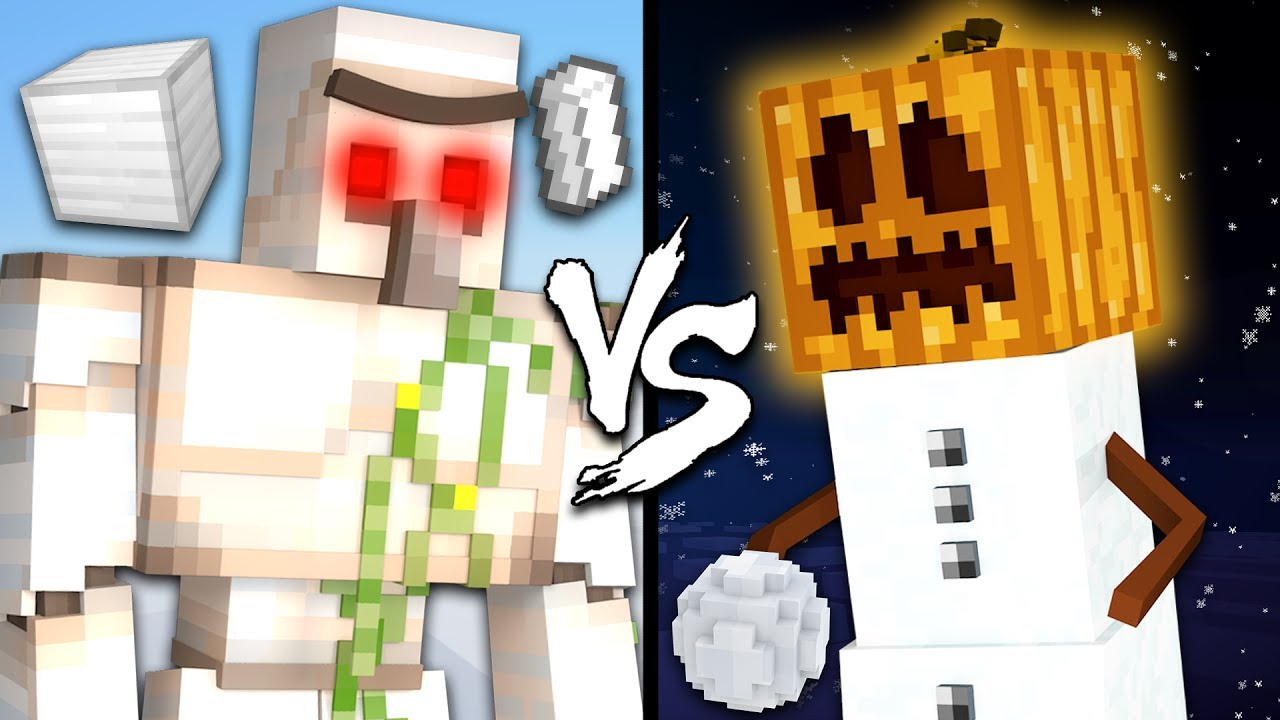 Iron Golem vs  Snow Golem - Minecraft