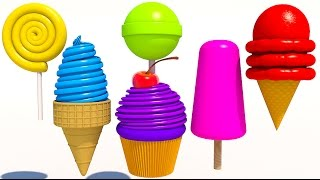 Learn Colors with 3D Delicious Ice Cream Lollipops for Kids and Children