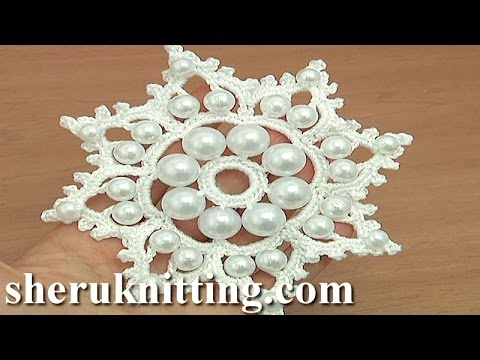 Crochet snowflake ornament with beads tutorial 19 youtube