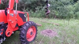 Using Tractor Auger On Chicken Yard Corner Post