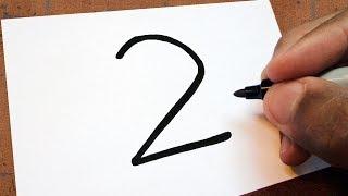 """🐀Como Transformar o Número """"2"""" em um RATO Com Queijo🧀   TRUQUES EM DESENHOS"""