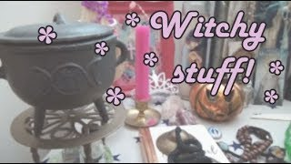 Tour of a Witch's Altar   Rosaries, Crystals and a Haunted Nun!