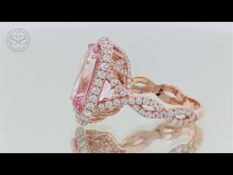 Rose Gold Morganite and Diamond Engagement Ring