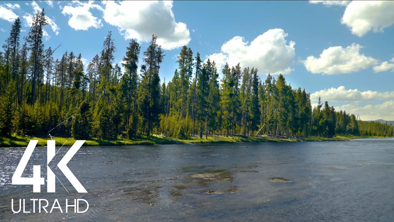 8 HOURS Relaxing Sound of a Mighty River - White Noise Stream - 4K Nature Soundscapes