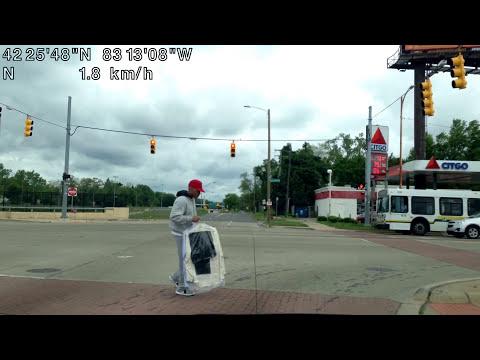 Driving around Detroit, Michigan
