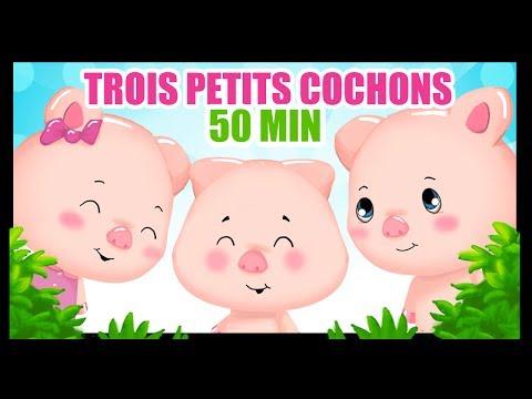 Trois petits cochons - Dessin animé en français - 50 min de contes pour les enfants titounis