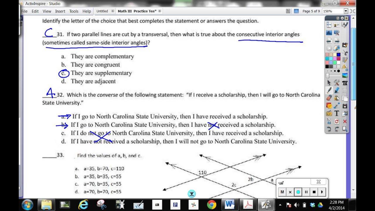 Math III Practice Test Key PROOF - YouTube