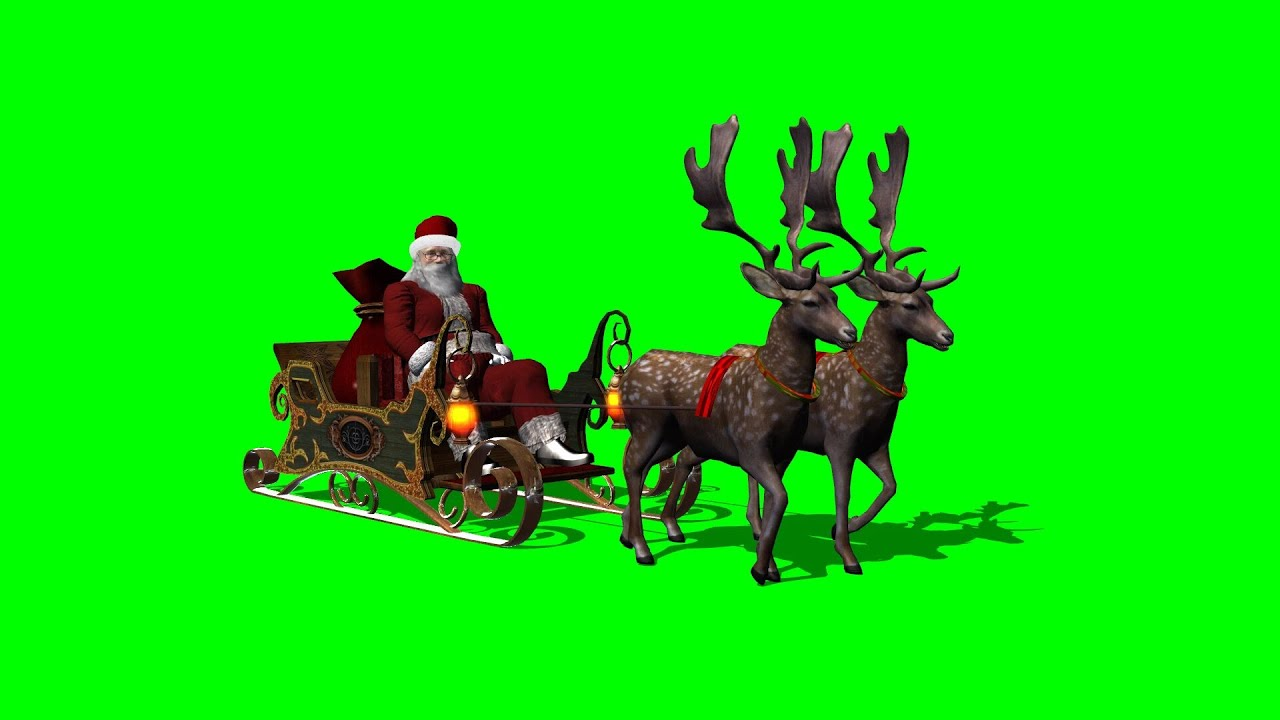 santa with sleigh and running reindeers green screen 1 youtube