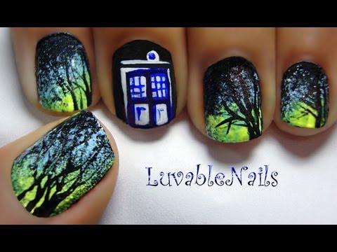 Doctor Who Tardis Blue Public Call Box Police Box Nail Art By