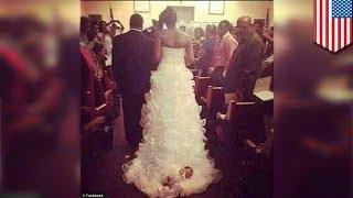 Невеста положила младенца в шлейф своего свадебного платья
