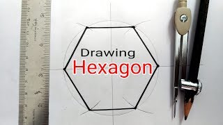 How to draw hexągon with using compass | Engineering Drawing