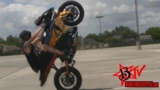 Stretched GSXR 1000 Wheelies & Burnouts - Suzuki GSXR1000 Stunts 240 Tire 10in Stretch BLOX STARZ TV