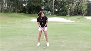Reading putts with Tiffany Chan