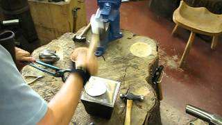 Hot forging the bowl of a Sterling Silver Rice Spoon