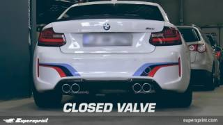 bmw m2 f87 sound with supersprint full exhaust system with valve