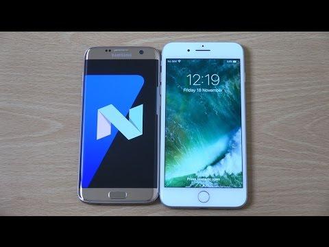 Samsung Galaxy S7 Edge Android 7.0 Nougat Beta vs iPhone 7 Plus - Speed Test!