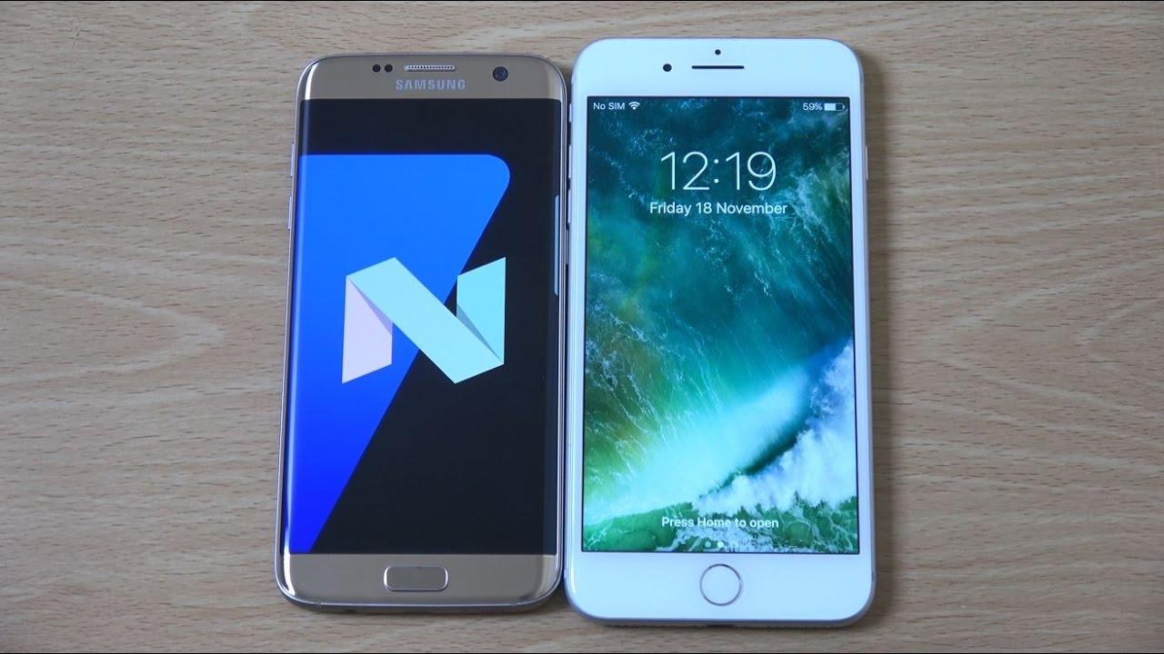 Samsung Galaxy S7 Edge Android 7.0 Nougat Beta vs iPhone 7 ...