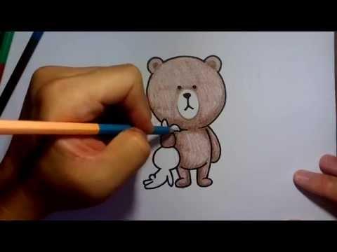 ระบายสี วาดการ์ตูนกันเถอะ วาดรูปการ์ตูน หมี brown line