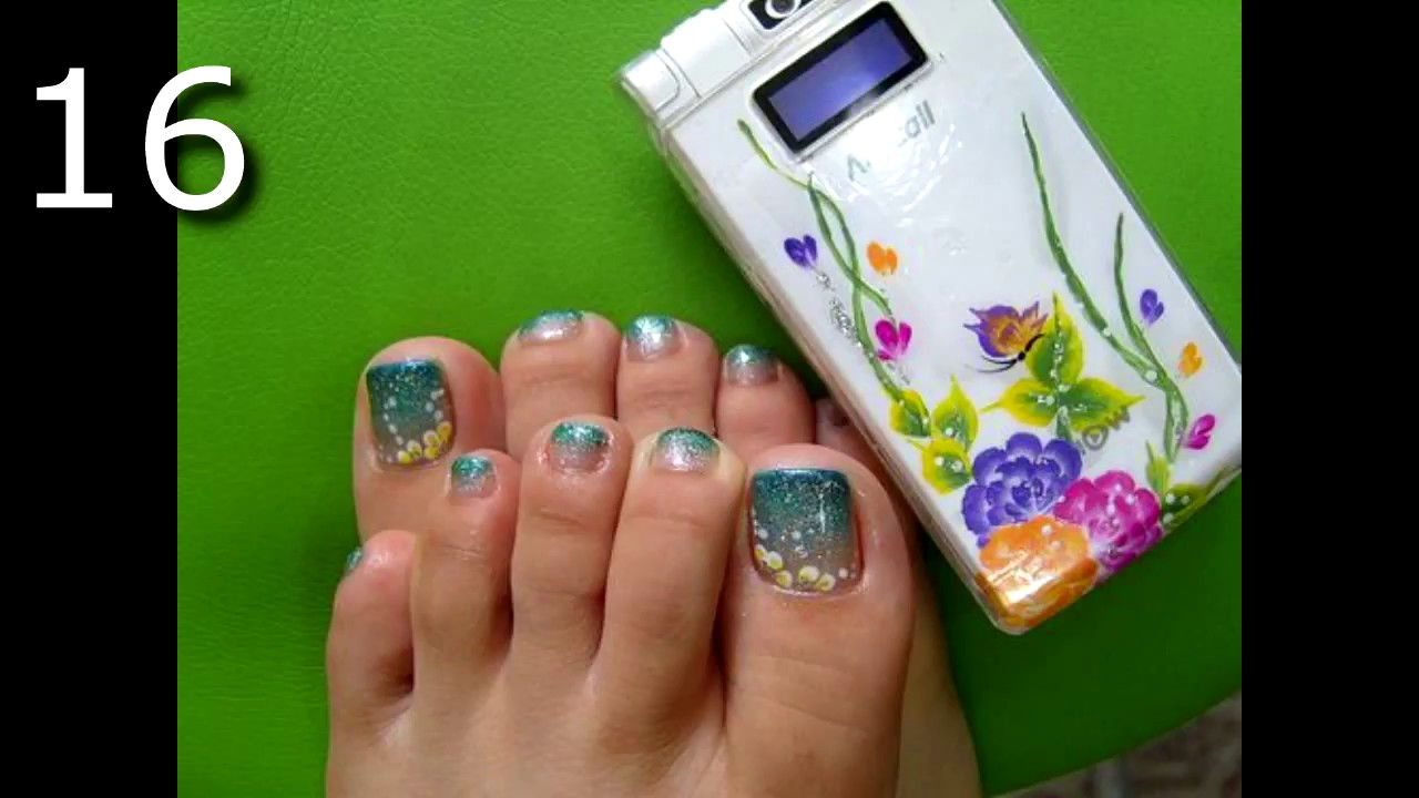 20 HERMOSAS UÑAS PARA PIES DECORADAS EN AZUL - YouTube