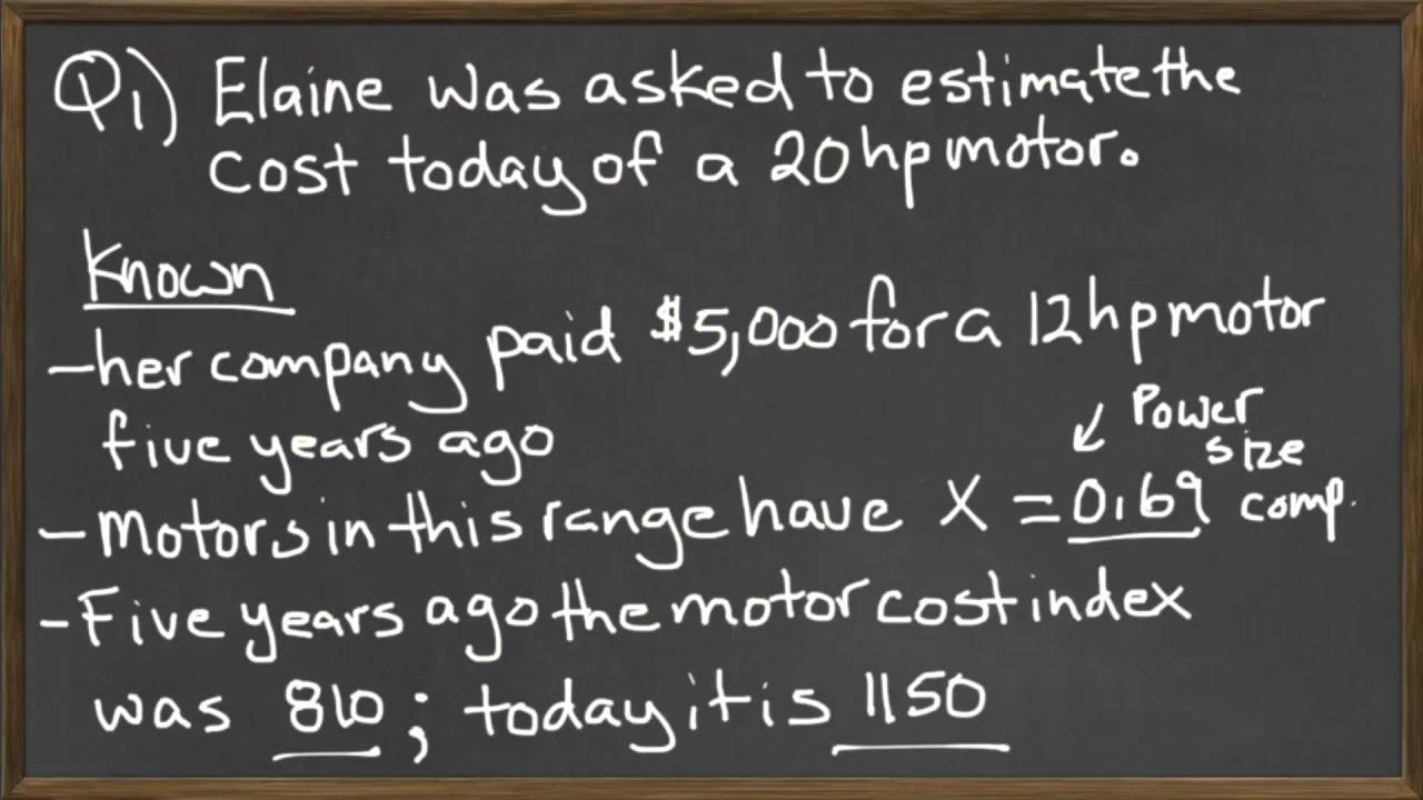 Power Sizing Model - Cost Index Value - Engineering Economics Example