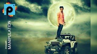 "Picsart Manipulation With White Jeep & White Moon light "" Picsart Editing Tutorial"