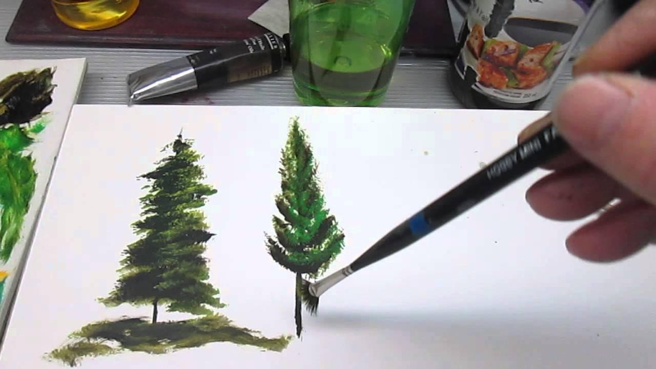 Peindre des sapins partie 1 youtube - Sapin a dessiner ...