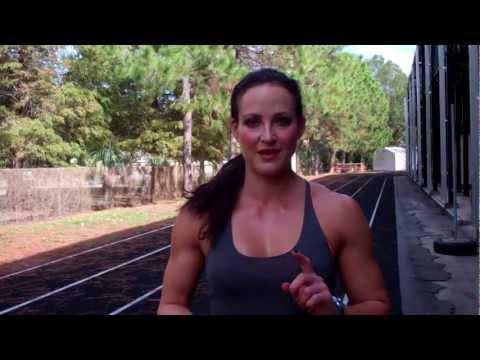 Erin Stern demonstrates sprint drills