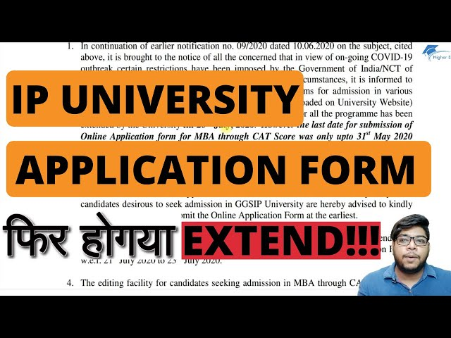 IP University Latest Update Application form submission date extended again
