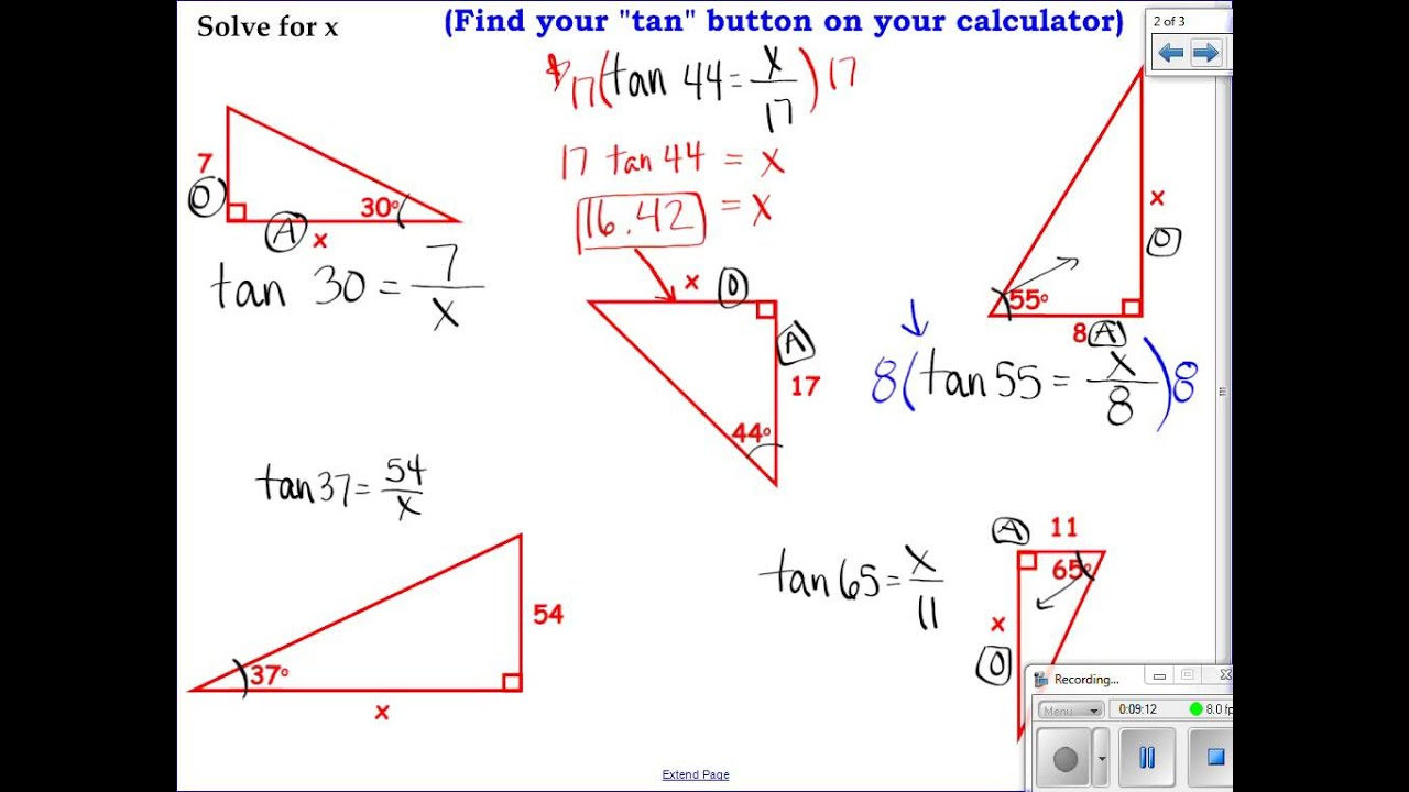 worksheet Tangent Ratio Worksheet geometry 7 5 apply the tangent ratio youtube ratio