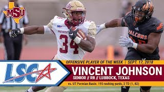 MSU TEXAS FOOTBALL: LSC Offensive Player of the Week Vincent Johnson (Sept. 18, 2018)