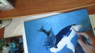 Я учусь рисовать.Подводный мир.Дельфины. Масляная живопись.(, 2015-06-08T15:10:28.000Z)