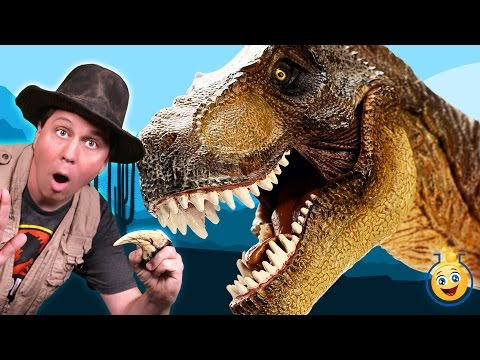 Thumbnail: GIANT DINOSAUR CHASE Jurassic Adventure at Grand Canyon w/ T-Rex Raptors in Real Life Kids Toy Video
