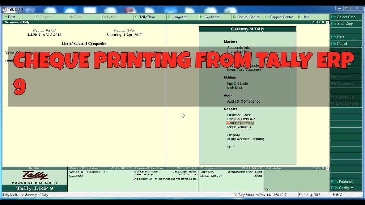 HOW TO CHEQUE PRINTING FROM TALLY ERP YouTube - Invoice printing software free atandt online store