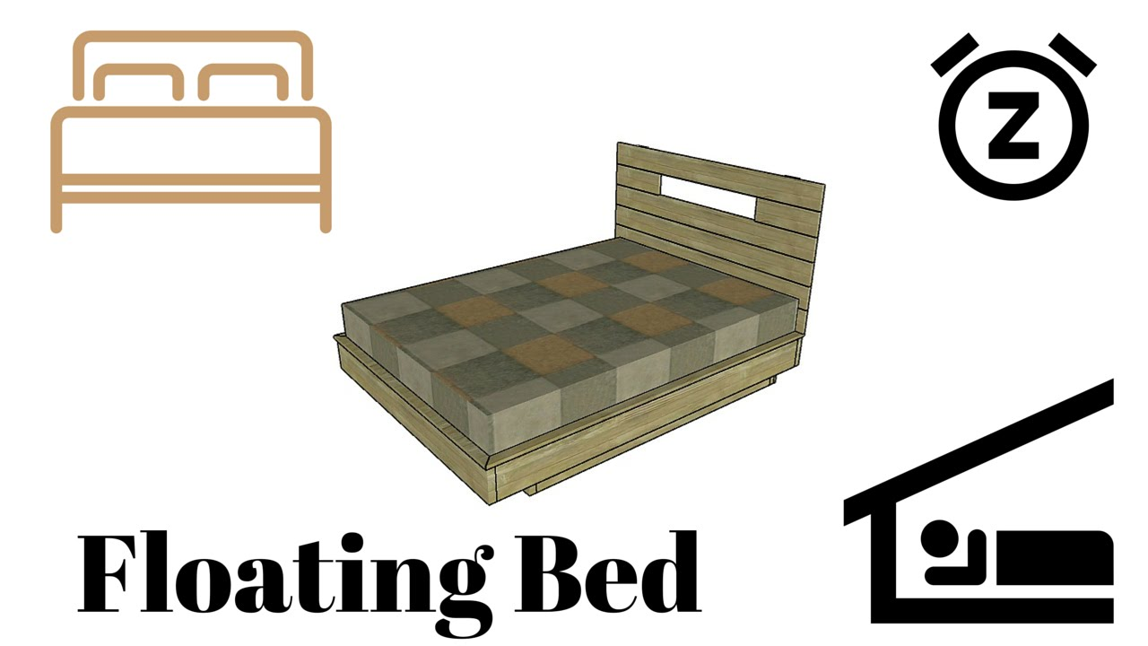Floating bed frame plans youtube for Suspended bed plans
