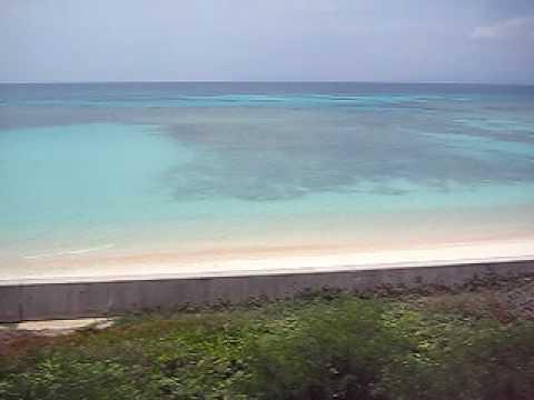 ニシ浜を一望する場所から海を望む