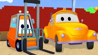 Tom Der Abschleppwagen und Gabelstapler in der Auto-Stadt | LKW-Karikatur für Kinder